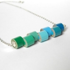 Sterling silver color pencil necklace No. 1, the green and blue series