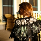 Swanky 3 in 1 Capelet with Decadent Drippy Antique Jet Beading