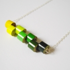 Sterling silver color pencil necklace Spring No. 1, the green and blue series