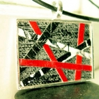Original Art Painted Pendant Necklace - Chunky,Abstract, Red, Grey, and White