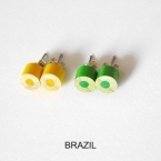 color pencil ear studs, World Cup Special Edition-brazil