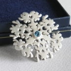 sterling silver and blue sapphire snowflake necklace, handmade, made to order