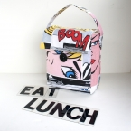 cotton eco lunch bag reusable tall box roy lichtenstein pop art laminated cotton