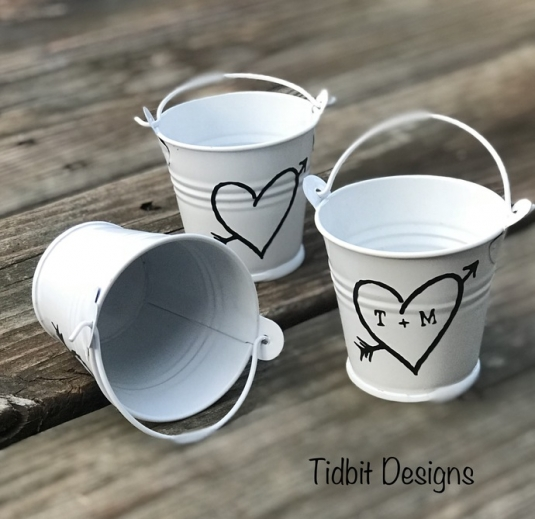Personalized Rustic Heart Tin Pail Wedding Favors Set Of 10 Cargoh
