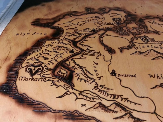 Skyrim inspired wood burned map, Elder Scrolls V, Hand ... on skyrim hermaeus mora, nirn complete map, skyrim all locations discovered, zelda cloth map, skyrim changing character, dark souls cloth map, elder scrolls online cloth map, skyrim ancient shrouded armor, skyrim elder scroll dragon location, skyrim cloth items, elder scrolls full map, skyrim game, skyrim how do i change in bedroom, skyrim cloth armor,