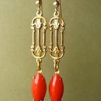 Vintage Art Nouveau Earrings with Cherry Red Drops.