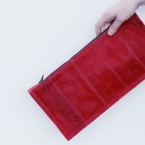 leather and cow hide clutch/ envelope bag - RED
