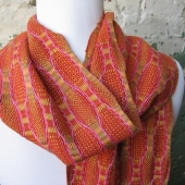 persimmon orange handwoven bamboo scarf