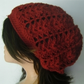 Slouchy Tam Beret Beanie - Lacy Crochet Red Wine