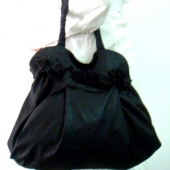 black handbag/ purse with handmade roses