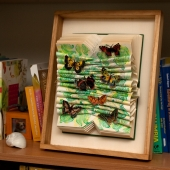 Altered book-butterfly garden detail