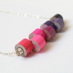 Sterling silver color pencil necklace, No.06, Pink and Purple